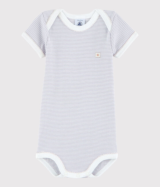 Bodi de manga corta de bebé niña rosa Silene / blanco Marshmallow