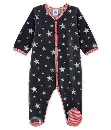 Pijama de terciopelo para bebé niño gris Capecod / gris Argent