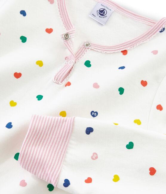 Pijama para niña de talle alto y punto doble cara blanco Marshmallow / blanco Multico