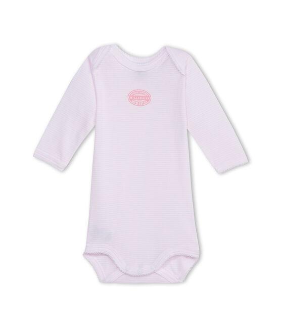 Body de manga larga milrayas para bebé niña rosa Vienne / blanco Ecume
