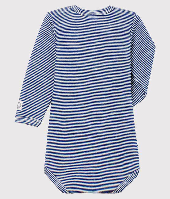 Bodi de manga larga de lana y algodón a rayas para bebé azul Medieval / blanco Marshmallow