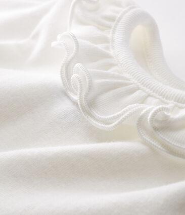 Body de manga larga lisa con cuello isabelino para bebé niña blanco Marshmallow Cn