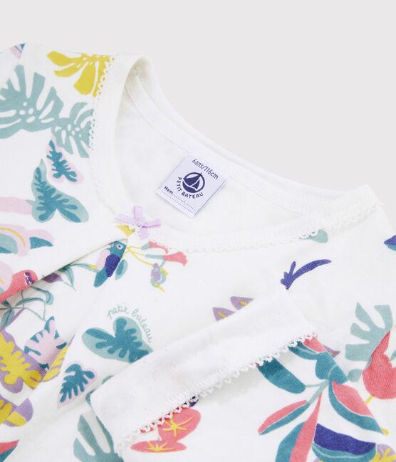 Pijama estampado jungla de niña de tela túbica blanco Marshmallow / blanco Multico