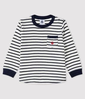 Camiseta para bebé niño blanco Marshmallow / azul Smoking