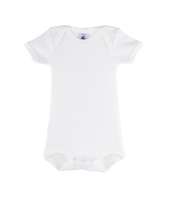 Bodi manga corta para bebé niña - bebé niño blanco Ecume