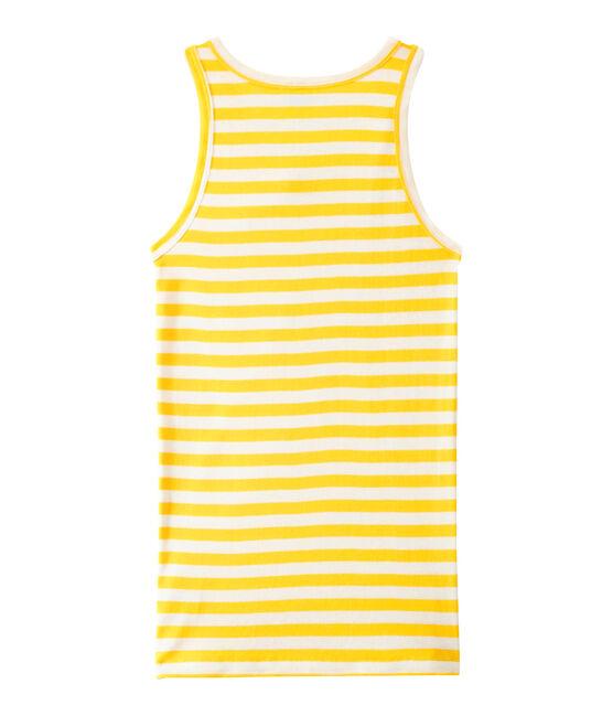Camiseta de mujer en canalé original de rayas amarillo Shine / blanco Marshmallow