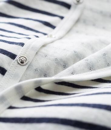 Pijama unisex de bebé sin pies en túbico blanco Marshmallow / azul Smoking