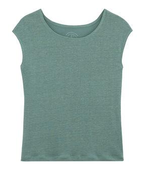 Camiseta de lino para mujer azul Brut