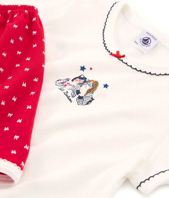 Pijama corto de punto para niña rojo Terkuit / blanco Marshmallow