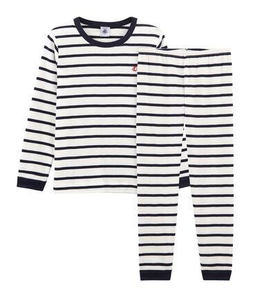 Pijama de punto para niño blanco Marshmallow / azul Smoking