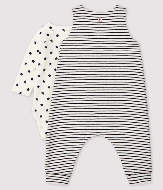 Conjunto de 2 piezas para bebé de túbico blanco Marshmallow / azul Smoking
