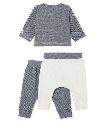 Conjunto de tres piezas para bebé niño de punto blanco Marshmallow / azul Smoking