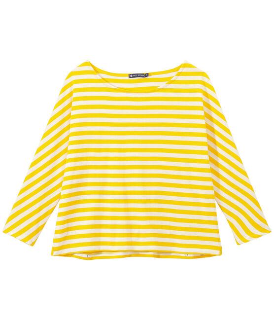 Camiseta de manga tres cuarto rayado amarillo Shine / blanco Marshmallow