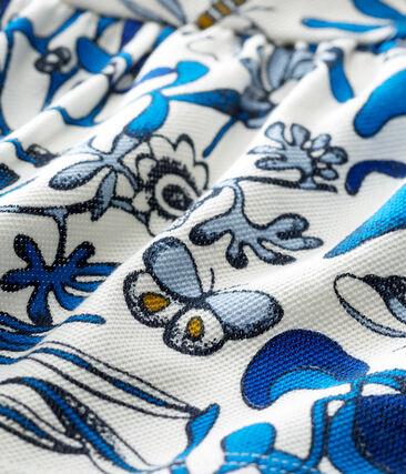 Blusa manga corta de punto de algodón piqué estampado para bebé niña blanco Marshmallow / blanco Multico