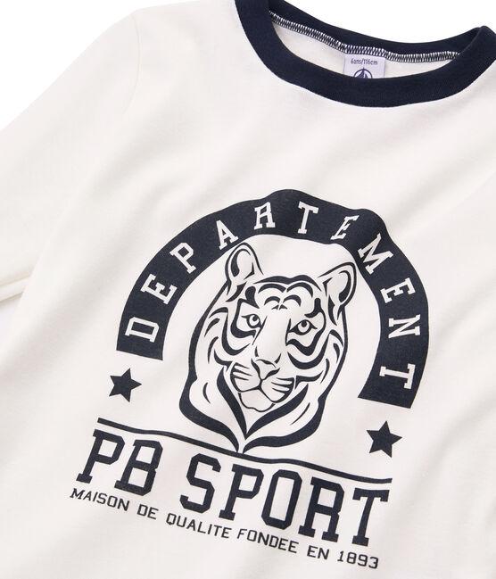 Camiseta de manga larga serigrafiada para niño blanco Marshmallow