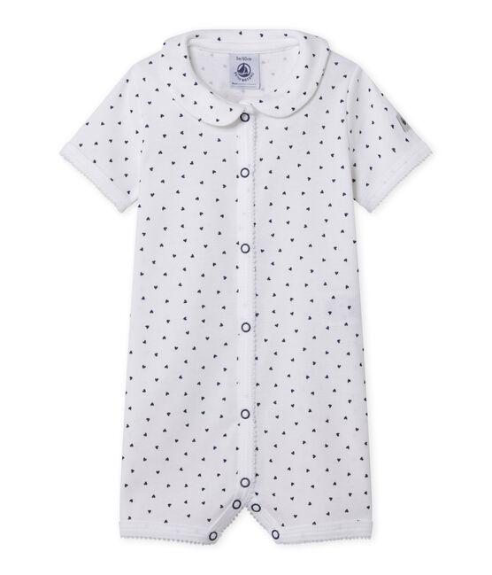 Pijama sin pies con corazones estampados para bebé niña blanco Ecume / azul Medieval