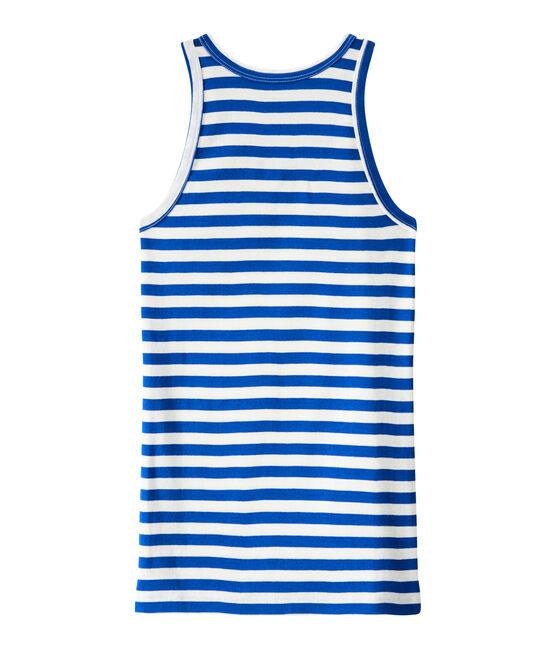 Camiseta de mujer en canalé original de rayas azul Perse / blanco Marshmallow