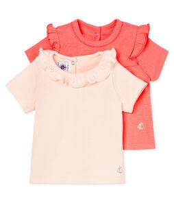 Lote de 2 camisetas manga corta para bebé niña
