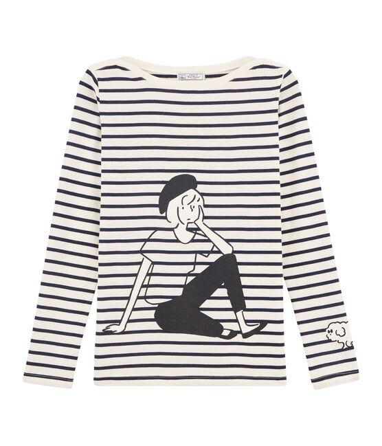 Camiseta marinera de mujer beige Coquille / azul Smoking
