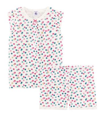 Pijama corto de punto de algodón para niña blanco Marshmallow / blanco Multico