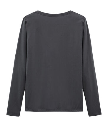 Camiseta manga larga de algodón sea island para mujer gris Maki