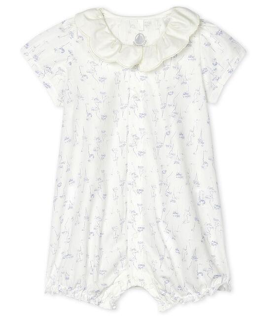 Pelele corto de popelina de bebé niña blanco Marshmallow / blanco Multico
