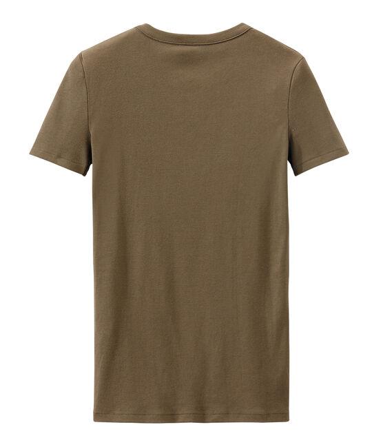 Camiseta de punto original para mujer marrón Shitake