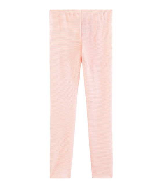 Leggings infantiles de lana y algodón rosa Charme / blanco Marshmallow