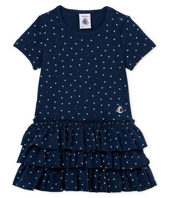 Vestido manga corta estampado para bebé niña azul Haddock / blanco Multico