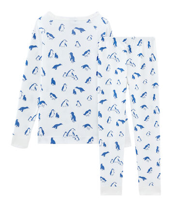 Pijama de corte muy ajustado de punto para niño blanco Marshmallow / azul Major
