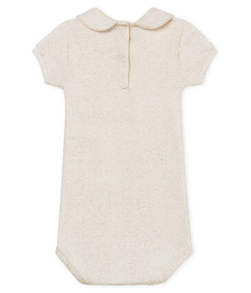 Body manga corta cuello claudine brillante para bebé niña blanco Marshmallow / rosa Copper