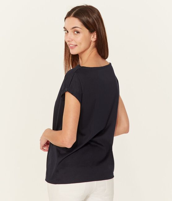 Camiseta manga corta de algodón Sea Island para mujer azul Marine