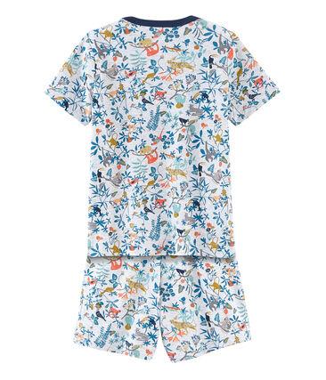 Pijama corto de punto para niño gris Poussiere / blanco Multico