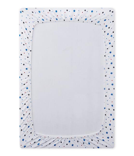 Sábana ajustable de 120x60 con motivo de estrella para bebé niño blanco Ecume / blanco Multico
