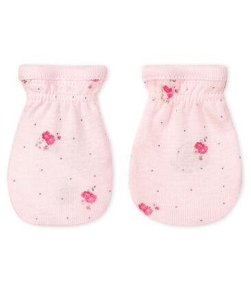 Par de manoplas para bebé de punto rosa Vienne / blanco Multico