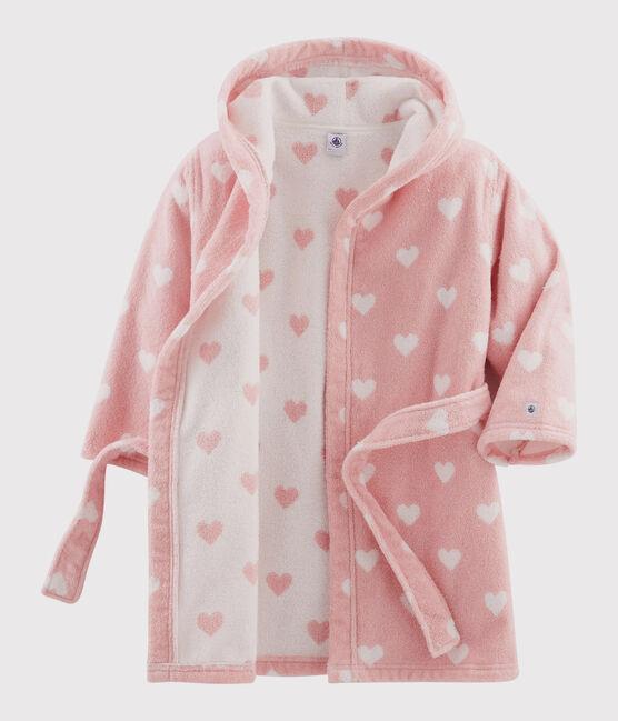 Albornoz con corazón de rizo para niña rosa Charme / blanco Marshmallow