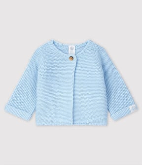 Rebeca de bebé de punto de algodón ecológico azul Toudou