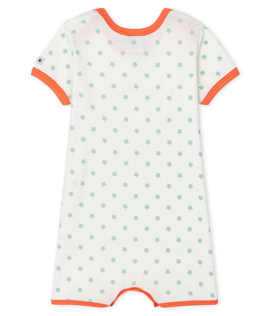 Pelele corto de punto para bebé de niño blanco Marshmallow / verde Verglas
