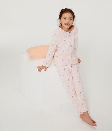 Pijama de felpa para niña rosa Minois / blanco Multico