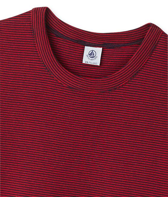 Camiseta de manga corta milrayas para mujer azul Smoking / rojo Mars