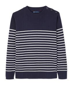 Jersey azul marino de rayas estampadas