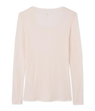 Camiseta de manga larga con cuello de bailarina de mujer rosa Fleur