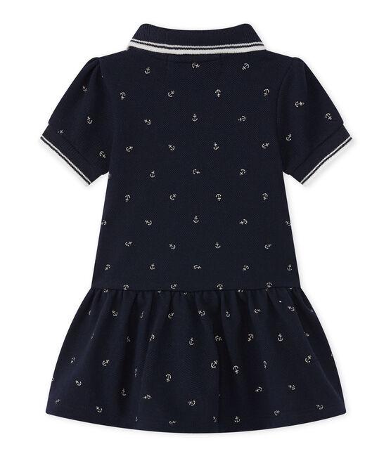 Vestido para niña de manga corta azul Smoking / blanco Feta