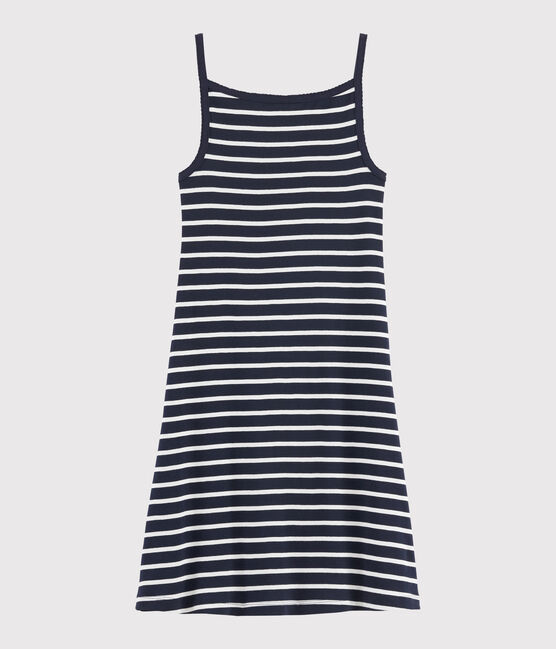 Vestido de tirantes de rayas para mujer azul Smoking / blanco Marshmallow