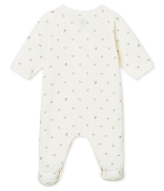 Pijama con apertura cruzada para bebé mixto blanco Marshmallow / negro Noir