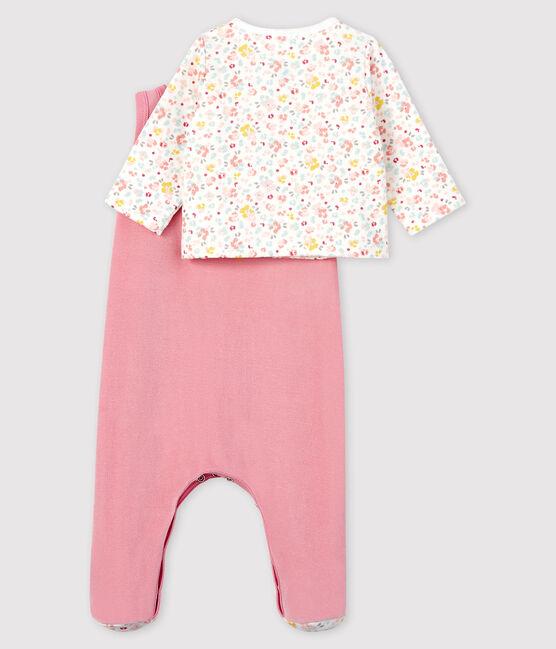 Conjunto de terciopelo de 2 piezas de flores rosas para bebé rosa Charme / blanco Multico