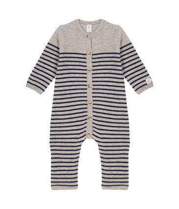 Mono largo para bebé 100 % de cachemira gris Subway / azul Smoking
