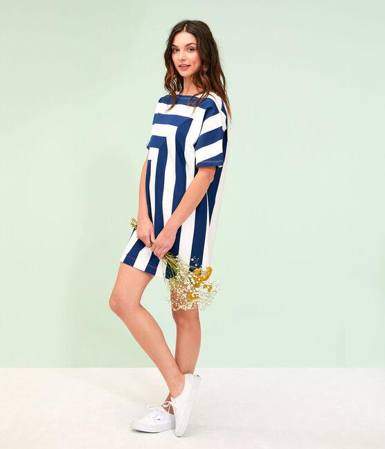 Vestido para mujer azul Medieval / blanco Marshmallow