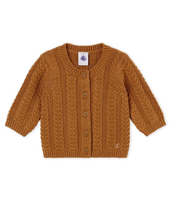 Cárdigan en tricot para bebé mixto en lana y algodón marrón Brindille