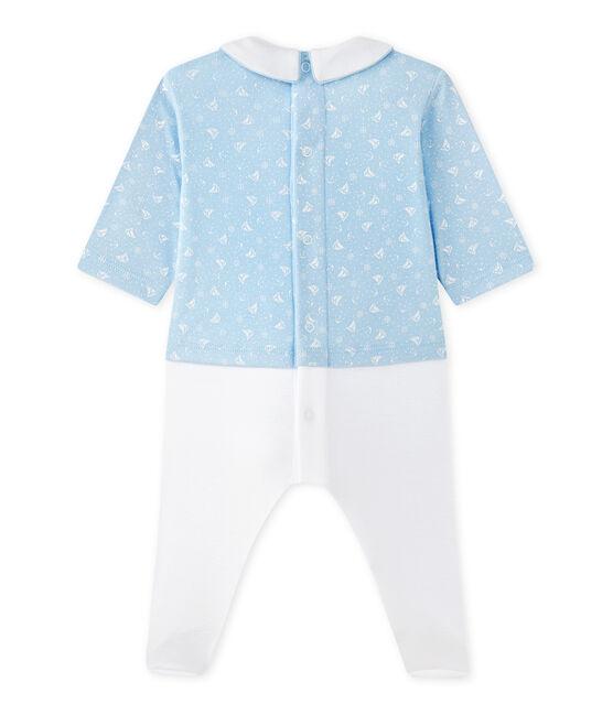 Pelele blusa bi-materia bebé niño azul Toudou / blanco Ecume
